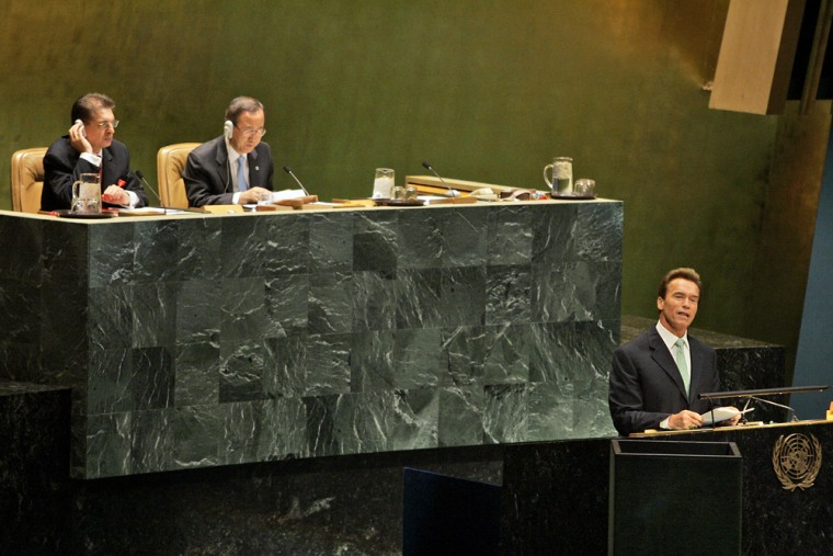 """California Gov. Arnold Schwarzenegger addresses the U.N. Climate Summit on Monday at U.N. headquarters in New York. U.N. Secretary-General Ban Ki-moon, top right, earlier opened the summit by arguing that """"inaction now will prove the costliest action."""""""
