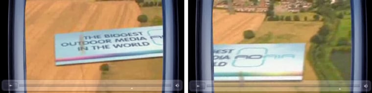 Two frames from a promo movie on Ad-Air.com, show an animated view of how the giant ads would look from a plane.