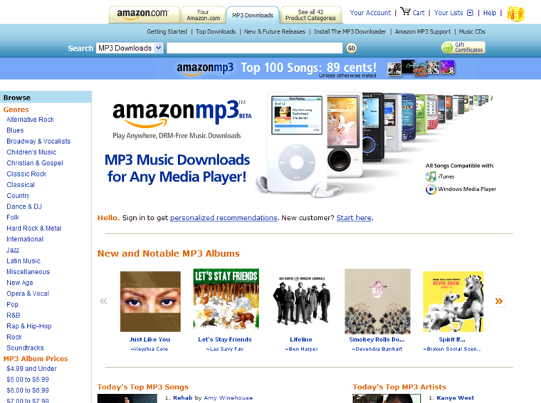 Screen grab of the newly launched 'Amazon MP3' music download service.
