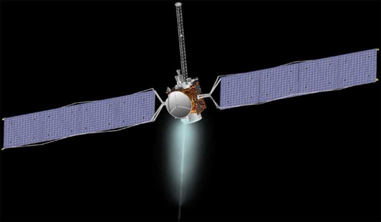 An artist's interpretation of NASA's Dawn spacecraft in flight.