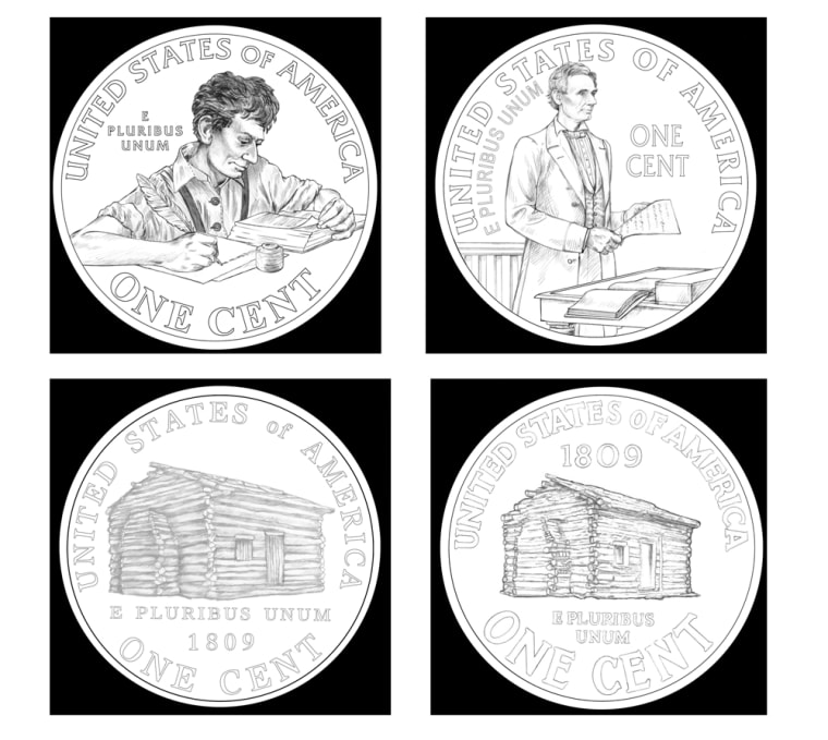 """These artist renderings provided by the U.S. Mint shows four of the designs under consideration to replace the """"tails"""" side of the Abraham Lincoln penny."""