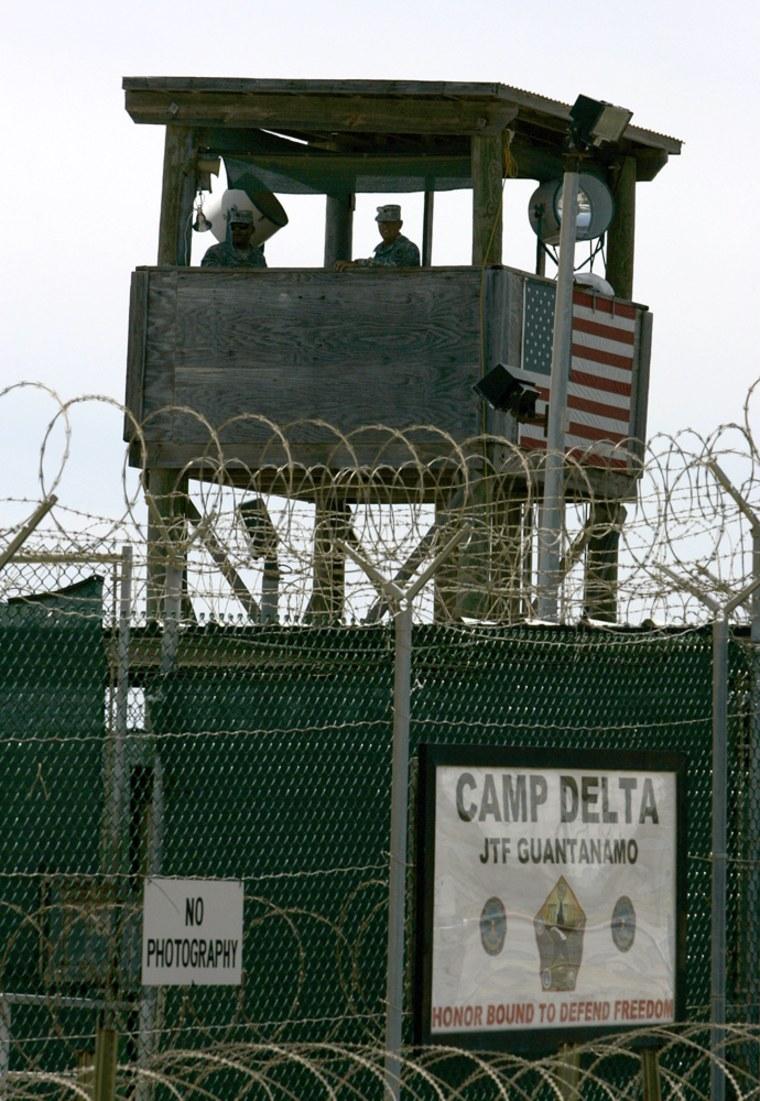A guard tower is shown at Camp Delta at the Guantanamo Bay Naval Station in Guantanamo Bay