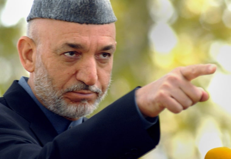 Afghan President Hamid Karzai gestures as he addresses a news conference at the Presidential Palace in Kabul, Afghanistan, on Saturday.