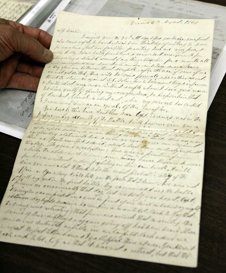 A private collection of 440 Confederate letterswas auctioned Saturday inSouth Carolina. The letters, pennedbetween 1861-1863, include correspondence between generals and the Confederate governments of Govs. Francis Wilkinson Pickens and Milledge Luke Bonham.