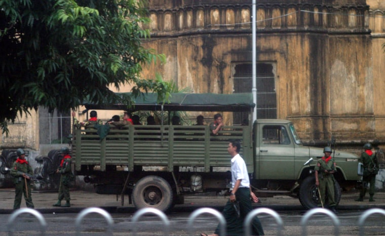 Soldiersdeploy along the street leading to Sule Pagoda in Yangon, Myanmar, on Monday.
