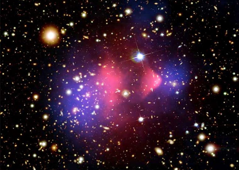 A composite image of the Bullet Cluster, a much-studied pair of galaxy clusters that have collided head on. One has passed through the other, like a bullet traveling through an apple, and is thought to show clear signs of dark matter (blue) separated from hot gases (pink).