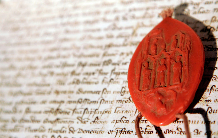 A replica of one of three seals used by the inquisitors at a trial 700 years ago, in which Pope Clement V absolved the Knights Templar of charges of heresy, is seen in Rome