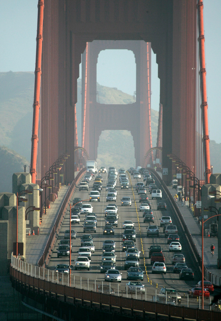 Traffic flows across the Golden Gate Bridge from Marin County into San Francisco. Traffic delays cost each Bay area commuter $1,121 in lost wages per year.