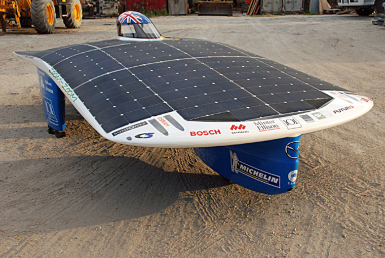 The Aurora 101 solar car has a highly efficient electric motorin its front wheel to move it forward.