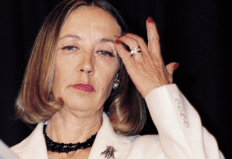"""Oriana Fallaci, shown here in an undated photo, says """"death is on my back."""""""