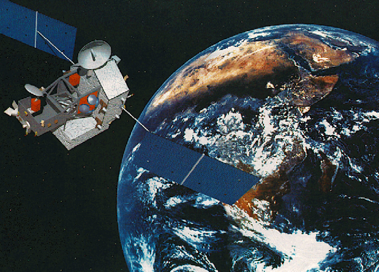 An artist's conception shows the Tropical Rainfall Monitoring Mission satellite in orbit.