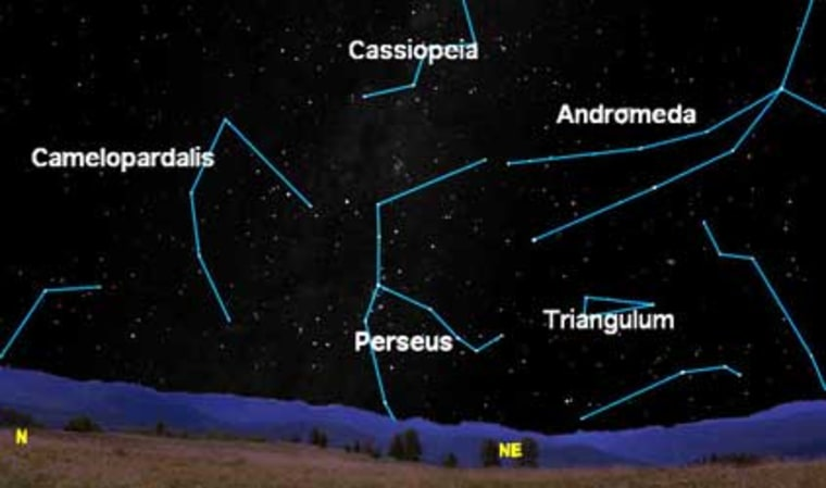 The Perseid meteor shower is so named because the flashes appear to radiate from the constellation Perseus, shown on this sky chart. But the meteors may be visible anywhere in the sky, not just around the radiant. The chart shows the northeast sky as it would look from midnorthern latitudesin late evening.