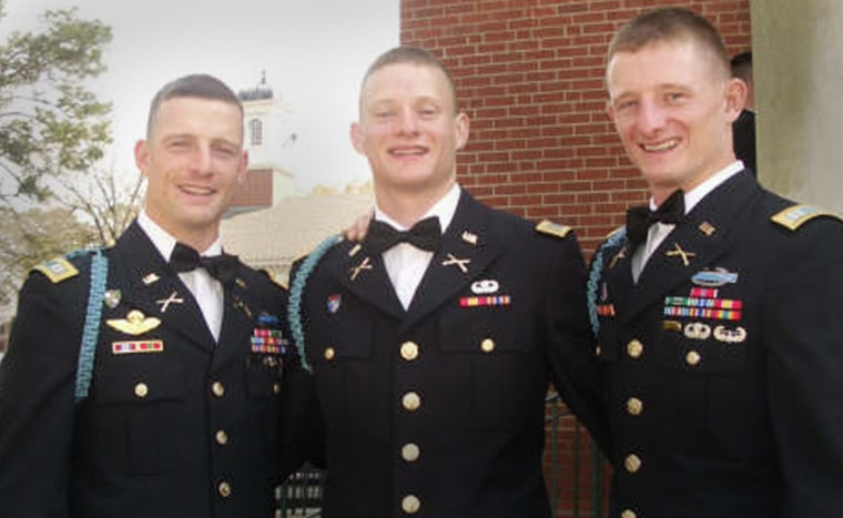 Brothers Bill, from left, Charlie and Huber Parsons will all be serving in Iraq with Fort Lewis-based 3rd Brigade, 2nd Infantry Division on Monday when younger brother Charlie joins his older twin brothers.