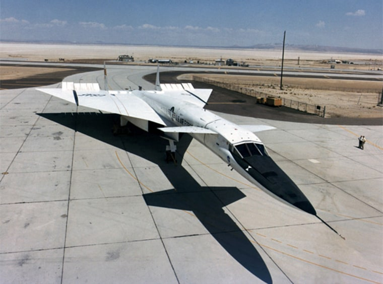 The classified Blackstar system is said to use a carrier airplane modeled after the XB-70A supersonic bomber, shown here in 1967 at Edwards Air Force Base in California.