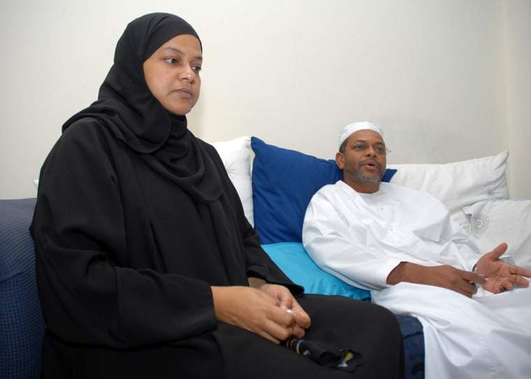 Kamilya Mohammedi Tuweni, left, sits with her brother Sabry Abdullah in her house in Sharjah, United Arab Emirates, onSunday. Kamilya said she was held incommunicado, without charges or due process for more than two and a half months in jails in Kenya, Somalia and finally Ethiopia. She was freed a month after being interviewed, fingerprinted and photographed by a U.S. agent, she said.