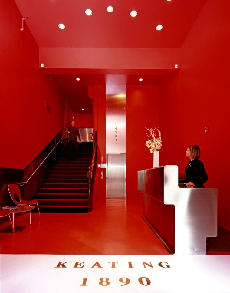 Designed by Pininfarina, the Keating in San Diego, Calif. boasts a lobby with bright red lacquered walls, high ceilings and stainless-steel fixtures. The 35 rooms join white walls with exposed brick and have circular windows, plasma televisions and Bang & Olufsen electronics.