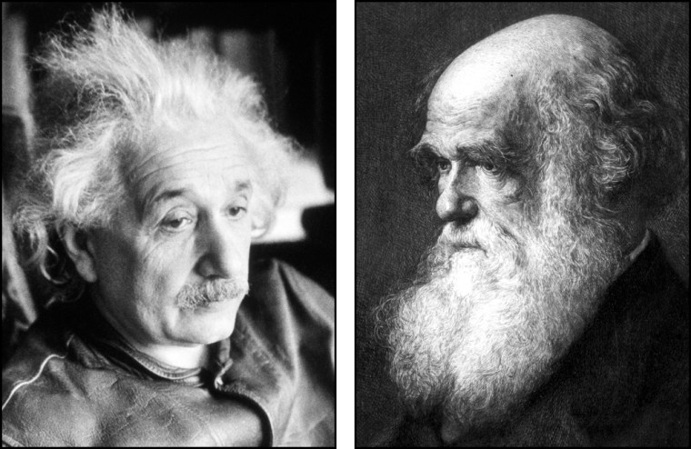 Albert Einstein, shown at left ina 1938 photo, revolutionized physics and becamea cultural icon. Charles Darwin, shown at right in a circa-1880 painting, laid the foundation of modern evolutionary theory, and today that theory is a cultural flashpoint.