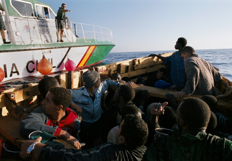 Migrants from Africa are intercepted off the coast of Spain.