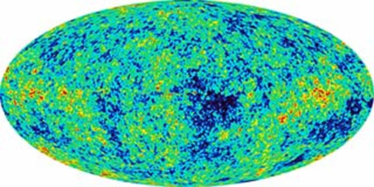 Thisall-sky picture, produced by the Wilkinson Microwave Anisotropy Probe, shows minute temperature differences in the cosmic radiation left over from the Big Bang. Such data can be translated into sound levels to represent what might have been heard after the Big Bang.