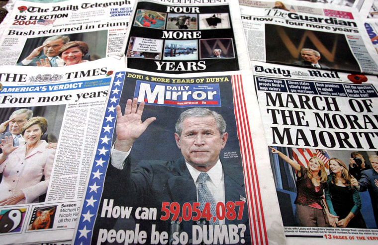 British newspapers carry the story of President Bush's re-election on Thursday.