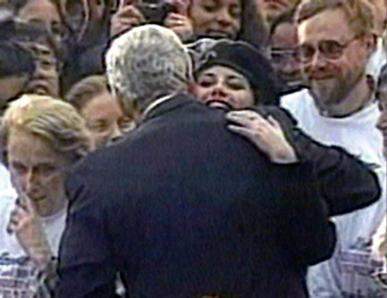Image: President Bill Clinton embraces Monica Lewinsky.