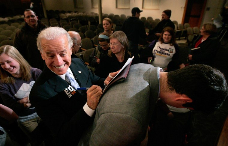Democratic presidential candidate Senator Biden signs autographs for supporters at the University of Northern Iowa in Cedar Falls