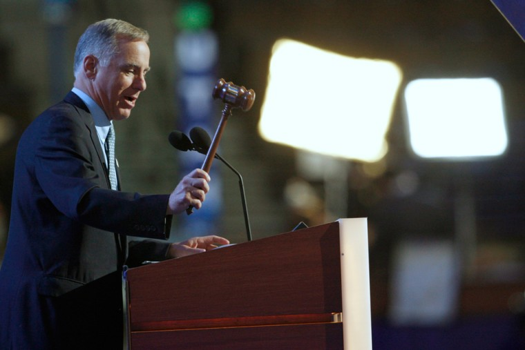 Democratic National Committee Chairman Dean gavels to call for roll call at 2008 Democratic National Convention in Denver