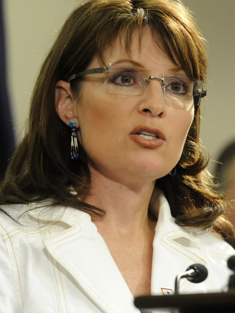 **FILE** First term Alaska Gov. Sarah Palin is seen during a press conference in Anchorage in an Aug. 13, 2008 file photo. Palin has bee named as a possible wild-card candidate for John McCain's vice presidential choice.    (AP Photo/Anchorage Daily Newsk, Marc Lester, File)  ** THE MAT-SU VALLEY FRONTIERSMAN OUT **