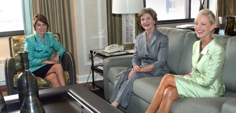 This picture provided by the campaign of US Republican presidential candidate John McCain shows his running mate Alaska Governor Sarah Palin (L) meeting with First Lady Laura Bush (C) and McCain's wife Cindy in Minneapolis, on the sidelines of the Republican National Convention, on September 2, 2008.          AFP PHOTO/www.johnmccain.com/HO            螺ቍሂ䱀 TO EDITORIAL USE (Photo credit should read -/AFP/Getty Images)
