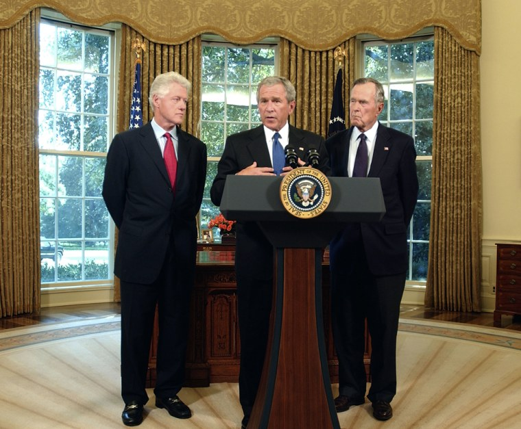 Former Presidents Bush And Clinton To Lead Fund-Raising Effort In Katrina Disaster