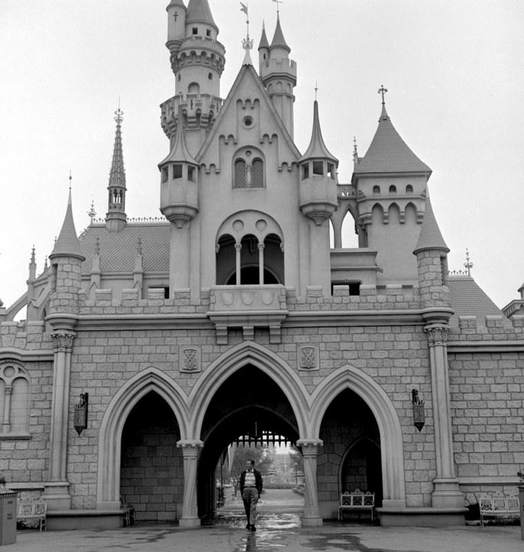 Walt Disney at Sleeping Beauty Castle