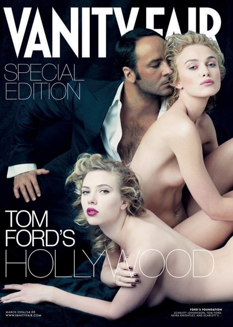 This photo supplied by Vanity Fair shows Scarlett Johansson, foreground, and Keira Knightley posed nude for the fold-out cover of Vanity Fair magazine's yearly Hollywood issue, to be released Wednesday, Feb. 8, 2006. Fashion superstar Tom Ford also appears on the cover photo by Annie Leibovitz shot exclusively for Vanity Fair.(AP Photo/Annie Leibovitz exclusively for Vanity Fair)