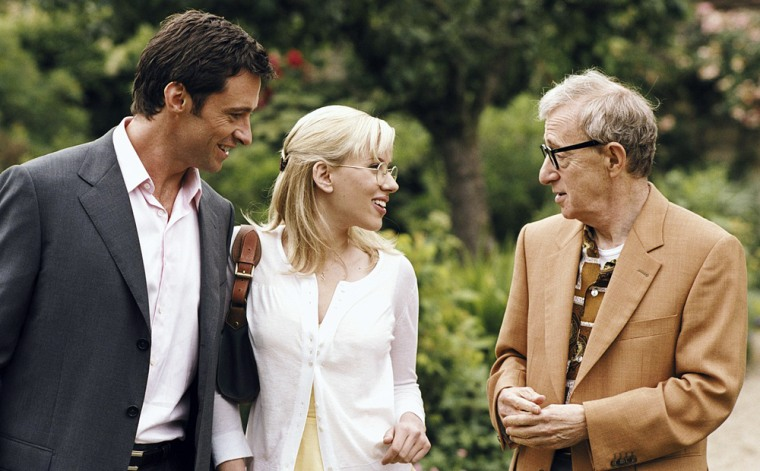 In the contemporary comedy, Scarlett Johansson portrays a student journalist for a college paper visiting friends in London who happens upon the scoop of a lifetime. Along the investigative trail, she finds magic, murder, mystery - and perhaps love, with a British aristocrat (Hugh Jackman). Hugh Jackman (left), Scarlett Johansson (center) and Woody Allen (right)