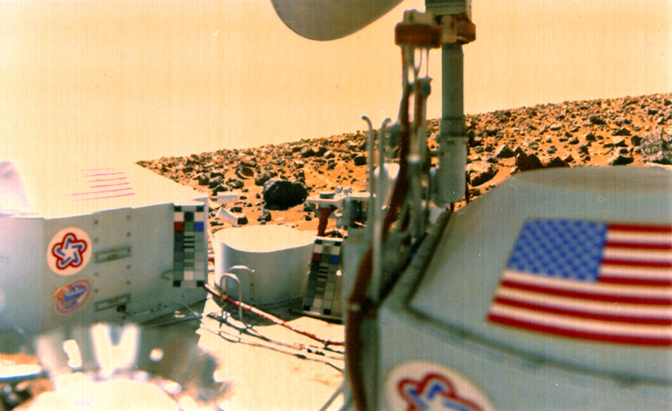 A Martian horizon is seen in the background, and the Viking lander itself dominates the foreground in this picture taken during the Viking mission.