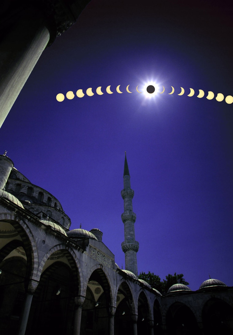 Solar Eclipse Multiple Exposure Composite As It Is Viewed From The Famous Blue Mosque In Istanbul T