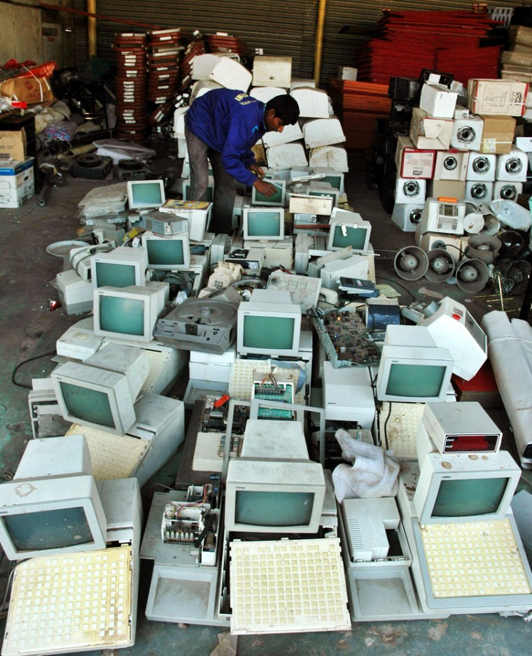 Computer parts stripped from decommissioned ships are among the wares for sale at the flea market in Alang, India.