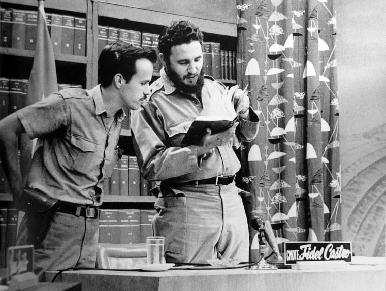 1961 Abril 9,Fidel and Ricardo Alarcon on national TV, (Liborio