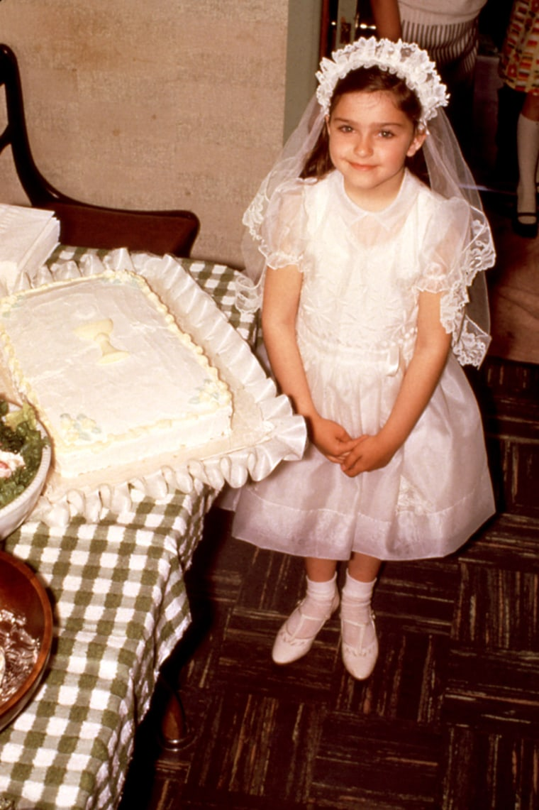 """Madonna Louise Ciccone (born August 16, 1958)  at 7 years old, first communion, spring 1966. Madonna Ciccone was born in Bay City, Michigan. She is the third of six children born to Silvio """"Tony"""" P. Ciccone and Madonna Louise Fortin. She was raised in a Catholic family in the Detroit suburbs. Madonna's mother died of breast cancer at age thirty on December 1, 1963, and Madonna has frequently discussed the impact her mother's death had on her life and career, calling it """"one of the hardest things I've faced in my life."""