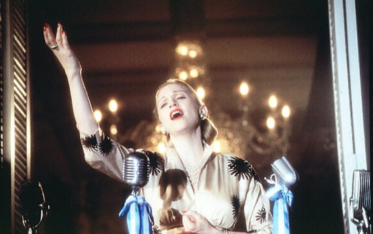 Madonna stars as Eva Perón in the film adaptation of the Andrew Lloyd Webber musical Evita, 1996. Madonna had campaigned for the role for nearly ten years and in December 1994, she wrote a four page, handwritten letter to director Alan Parker explaining that she would be perfect to play the role. Parker agreed and to prepare for the film Madonna took voice lessons to extend her range and researched the life of her character. She was pregnant while filming (i think she found out while on set??) On October 14, 1996 she gave birth to a daughter, Lourdes Maria (Lola) Ciccone Leon with Carlos Leon, who was her personal trainer and lover.