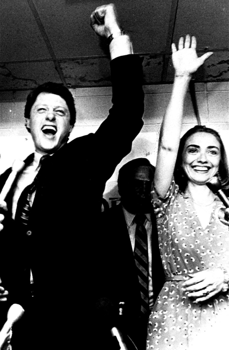 Former Gov. Bill Clinton and his wife, Hillary, celebrate his victory in the Democratic runoff on June 8, 1982 in Little Rock, Ark.  Clinton defeated former Lt. Gov. Joe Purcell.  He faces Gov. Frank White, a Republican, in November. (AP Photo)