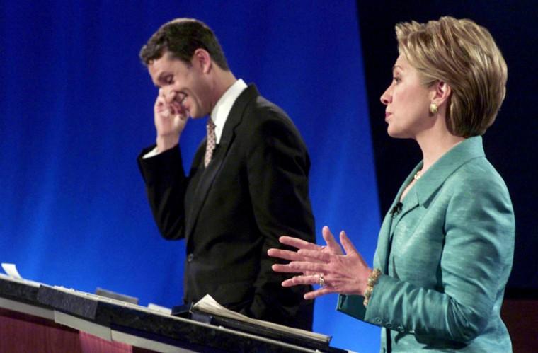US Senate candidate Rep. Rick Lazio (L), R-NY, smi