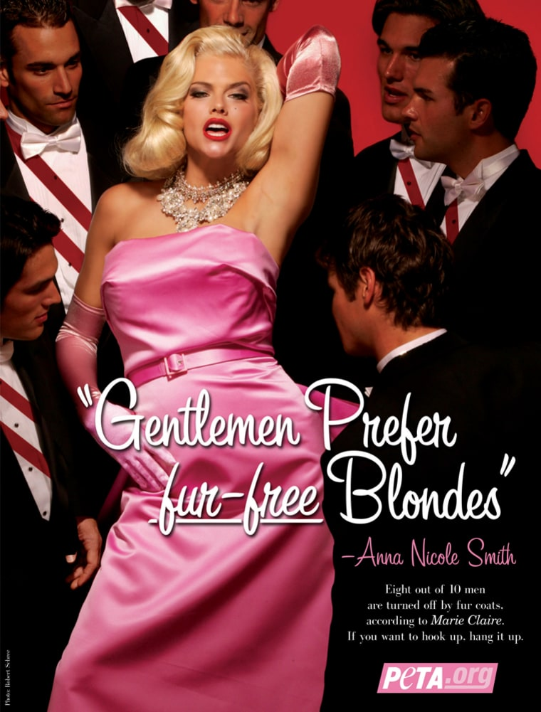In this handout image from PETA, Anna Nicole Smith poses as Marliyn Monroe for a 2004 PETA ad campaign titled, Gentlemen Prefer Fur Free Blondes.  Smith, the pneumatic blonde whose life played out as an extraordinary tabloid tale - Playboy centerfold, jeans model, bride of an octogenarian oil tycoon, reality-show subject, tragic mother - died Thursday, Feb. 8, 2007 after collapsing at a hotel. She was 39. (AP Photo/PETA, Robert Sebree)