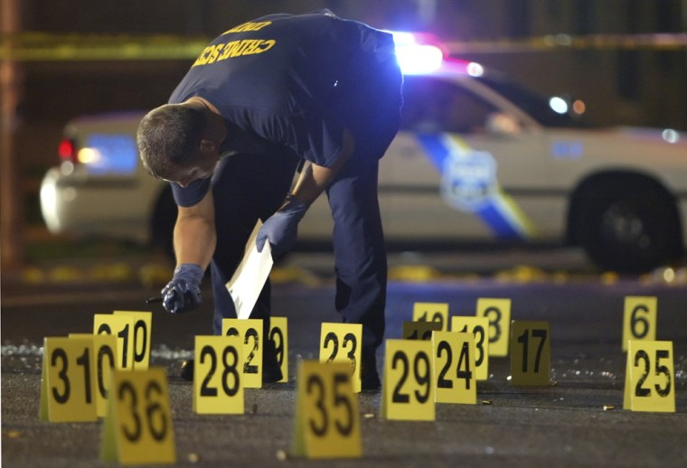 Police investigate a double homicide in Philadelphia on June 24. The city is on track to see fewer homicides this year than last.