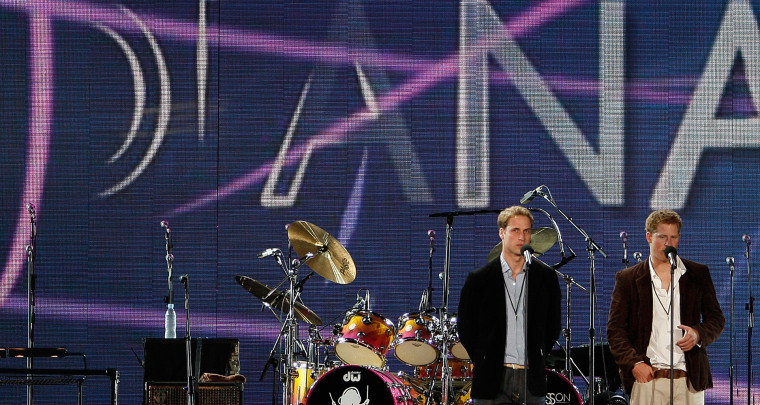 Britain's Princes William, left,   and Harry speak on stage  during a star-studded pop concert in memory of Diana, Princess of Wales at Wembley Stadium in London,  Sunday July 1, 2007.  More than 63,000 people are at the multi-million pound London stadium on what would have been the Princess's 46th birthday.  (AP Photo/ Stephen Hird ,Pool)