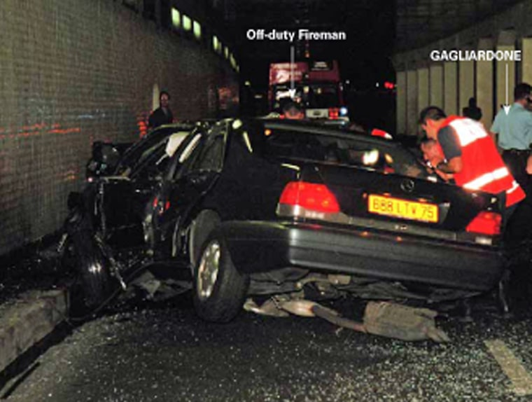 A handout image obtained in London, 03 October 2007, from the coroner Lord Justice Scott Baker, shows emergency services personnel attending to the wreckage of the Mercedes carrying Diana, Princess of Wales and Dodi Al Fayed in a Paris underpass in August 1997. Eleven jurors were selected Tuesday 02 October 2007, to decide if there is any truth to claims that Britain's royal family ordered the murder of Princess Diana, as a formal inquest into her death in 1997 finally opened. AFP PHOTO/RAT/SCOTT BAKER INQUEST   **** RESTRICTED FOR EDITORIAL USE **** NO SALES **** (Photo credit should read RAT/SCOTT BAKER INQUEST/AFP/Getty Images)