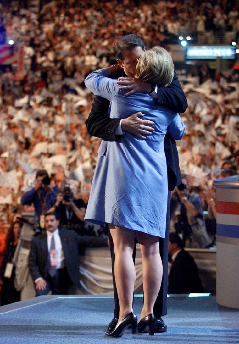 Democratic presidential candidate Al Gore kisses h