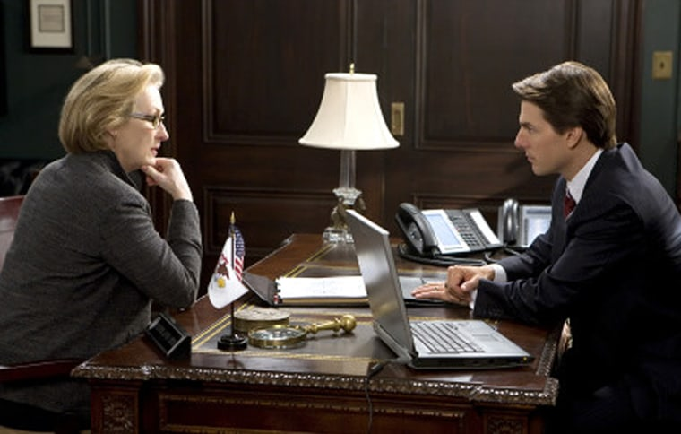 """Meryl Streep confrontsTom Cruise about his at-work Facebook abuse ... ok, not really (though that would be awesome). It's actually a scene from the 2008 film """"Lions for Lambs"""" and they're probably yackin' about the military-industrial complex or something. Whatever. """"Iron Man"""" is way better."""