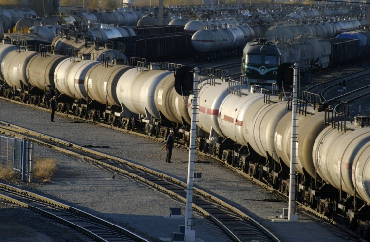 A general view shows oil tank cars trains at a railway station in PetroChina's Daqing oil field in China's northeastern Heilongjiang province