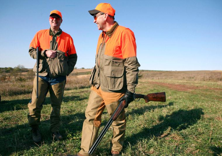 Image: Mike Huckabee before pheasant hunting near Osceola, Iowa.