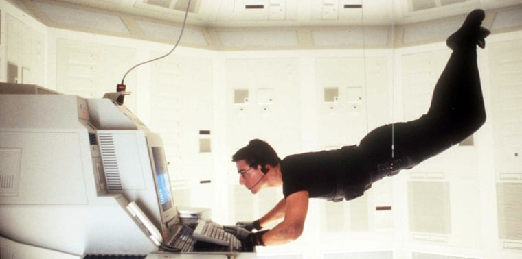 "1996 Tom Cruise stars in his new movie ""Mission Impossible"""